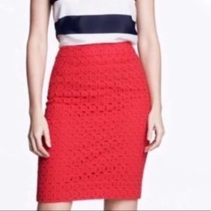 J. Crew Red Eyelet Lace No. 2 Pencil Skirt